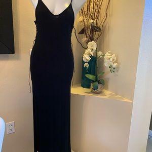 BOOHOO woman stretch long black dress
